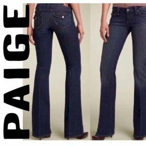 Paige Pico Dark Wash Boot Cut Flap Pocket Jeans 27